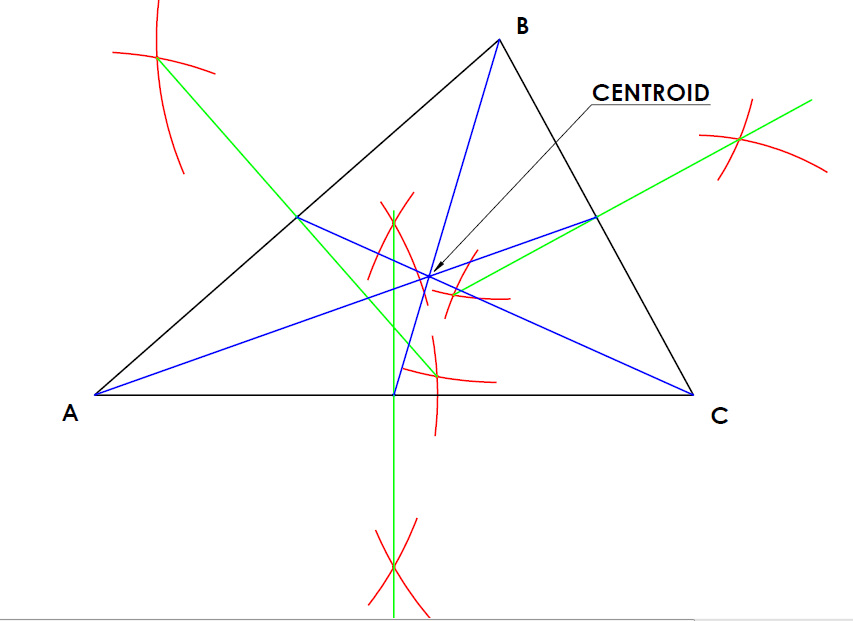Centroid of a triangle technical graphics - Contractor how to find one ...